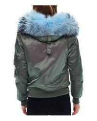Sam. - Green Jenny Fur Trim Bomber Jacket - Lyst