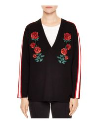 Sandro - Black Indira Rose-embroidered Sweater - Lyst