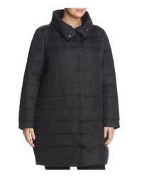 Eileen Fisher - Black Funnel Neck Quilted Puffer Coat - Lyst