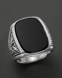 Scott Kay | Metallic Men's Sterling Silver Large Engraved Ring With Onyx for Men | Lyst