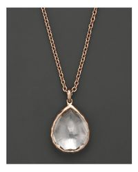 "Ippolita - Pink Rosé Rocky Candy Teardrop Pendant Necklace In Clear Quartz, 16"" - Lyst"