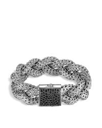 John Hardy - Large Braided Classic Chain Silver Bracelet With Black Sapphires - Lyst