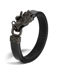 John Hardy | Men's Naga Silver Dragon Head Bracelet With Black Finish On Black Leather Strap for Men | Lyst