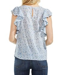 Vince Camuto - Blue Whisper Ditsy Floral Ruffle-sleeve Top - Lyst