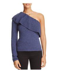 Ella Moss | Blue Loli Ruffled One-shoulder Sweater | Lyst