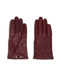 Ted Baker Purple Lucilu Quilted Bow Gloves