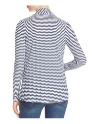 Three Dots | White Draped Stripe Cardigan - 100% Bloomingdale's Exclusive | Lyst