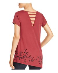 Love Scarlett - Red Floral Print Asymmetric Tee - Lyst