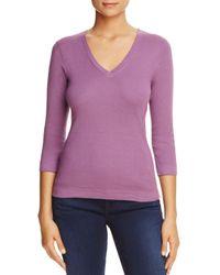 Three Dots - Purple V-neck Top - Lyst