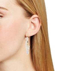 Aqua - Metallic Beaded Hoop Earrings - Lyst