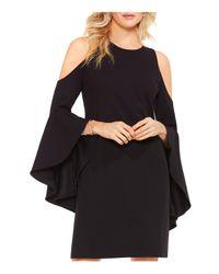 Vince Camuto - Black Cold Shoulder Bell Sleeve Dress - Lyst