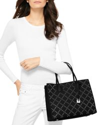 MICHAEL Michael Kors - Black Mercer Stud And Grommet Convertible Large Leather Tote - Lyst