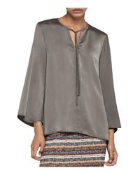 BCBGeneration - Green Bell Sleeve Tie-neck Blouse - Lyst