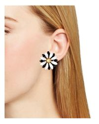 Kate Spade - Black Flower Stud Earrings - Lyst