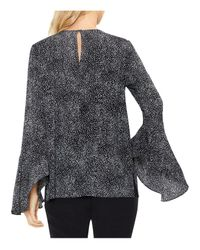 Vince Camuto - Black Texture Dashes Flared Bell-sleeve Blouse - Lyst