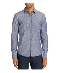 BOSS Orange - Blue Edoslime Floral Chambray Slim Fit Button-down Shirt for Men - Lyst
