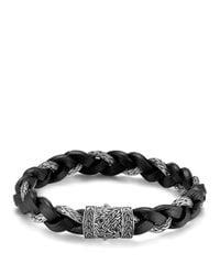 John Hardy   Black Men's Classic Chain Braided Leather Cord Bracelet for Men   Lyst