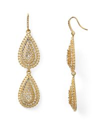 ABS By Allen Schwartz | Metallic Double Drop Earrings | Lyst