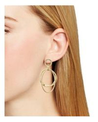 Aqua - Metallic Nellie Double Hoop Drop Earrings - Lyst
