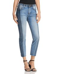 Aqua - Blue Cropped Two-tone Jeans In Double Indigo - Lyst