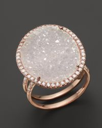 Meira T | Pink 14k Rose Gold Druzy Ring With Diamonds | Lyst