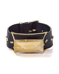 Alexis Bittar | Black Geo Leather Buckle Cuff | Lyst