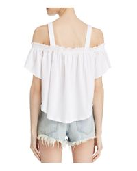 Free People | White Darling Cold-shoulder Top | Lyst