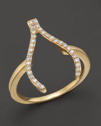 Khai Khai | Diamond Wishbone Ring In 18k Yellow Gold, .2 Ct. T.w. | Lyst