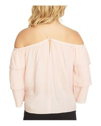 1.STATE - Pink Tiered Cold-shoulder Blouse - Lyst