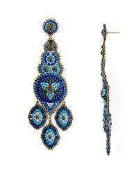 Miguel Ases - Blue Long Chandelier Beaded Drop Earrings - Lyst