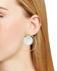 Aqua - Metallic Double Loop & Disc Drop Earrings - Lyst