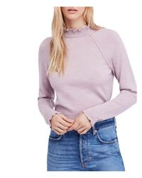 Free People - Purple Needle And Thread Merino-wool Sweater - Lyst