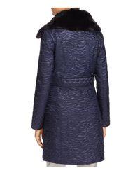 Via Spiga - Blue Faux Fur Trim Belted & Quilted Coat - Lyst