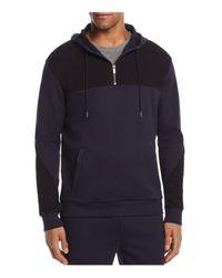 HUGO - Blue Dason Hooded Quarter-zip Track Jacket for Men - Lyst