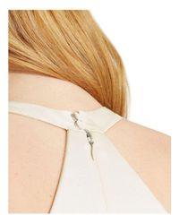 Halston Heritage - Natural Twist-detail Asymmetric Satin Dress - Lyst