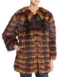 Maximilian Brown Multicolored Fox Fur Coat