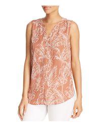 NYDJ - Pink Sleeveless Print Pintuck-back Blouse - Lyst