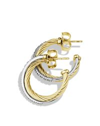 David Yurman - Yellow Crossover Small Hoop Earrings With Diamonds In Gold - Lyst