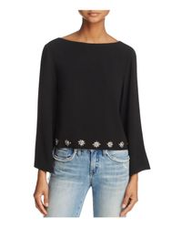 Elizabeth and James - Black Nico Embroidered Beaded Hem-appliqué Top - Lyst
