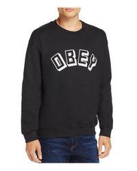 Obey - Black Logo Crewneck Sweatshirt for Men - Lyst