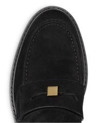 Stuart Weitzman - Black Women's Crome Almond Toe Suede Loafers - Lyst