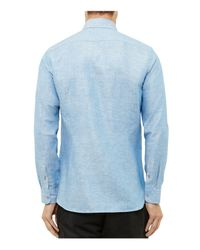 Ted Baker | Blue Linen-cotton Regular Fit Button Down Shirt for Men | Lyst