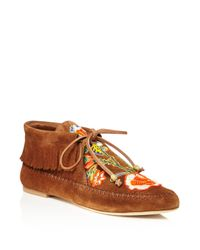 Tory Burch - Brown Huntington Bead Embroidered Fringe Booties - Lyst