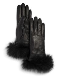 Bloomingdale's - Black Fox-fur Trimmed Leather Gloves - Lyst