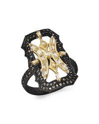 Armenta - Metallic 18k Yellow Gold & Blackened Sterling Silver Old World White Sapphire & Champagne Diamond Scalloped Ring - Lyst