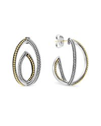 Lagos | Metallic Sterling Silver And 18k Gold Caviar Bead Hoop Earrings | Lyst