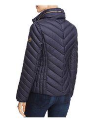 MICHAEL Michael Kors Blue Missy Short Chevron Packable Down Coat