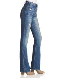 Mother Blue The Hustler Patch Pocket Bootcut Jeans In Natural Born Hustler