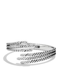 David Yurman - Metallic Willow Open Three-row Bracelet With Diamonds - Lyst