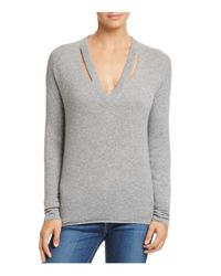 Minnie Rose - Gray Cutout Cashmere Sweater - Lyst